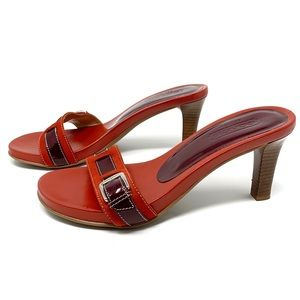 Coach Red suede & Patent Sandals Heels Size 8 B